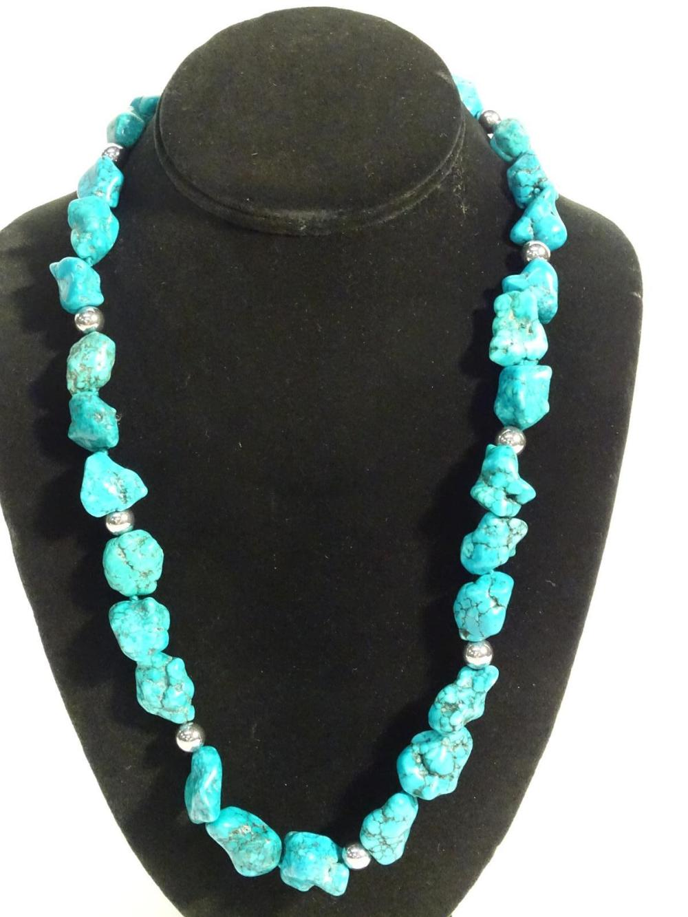 STERLING SILVER, TURQUOISE NECKLACE