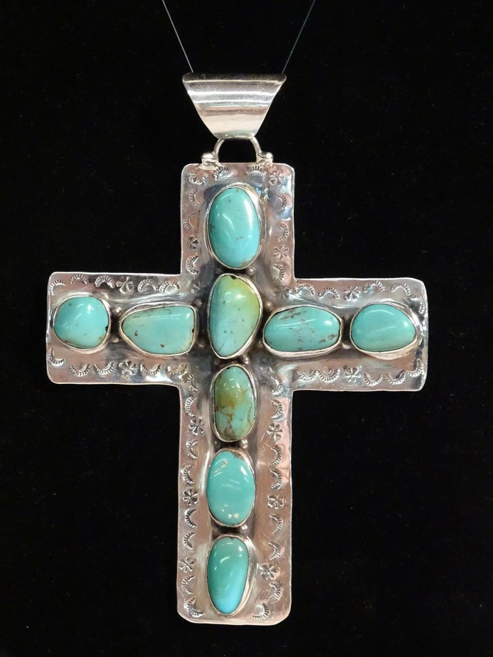 STERLING SILVER, TURQUOISE CROSS PENDANT