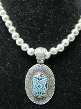 RODERICK TENORIO SIGNED STERLING PENDANT ON STERLING BEADED NECKLACE