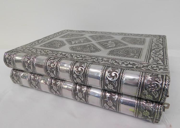 Book Form Silver Clad Jewelry Box