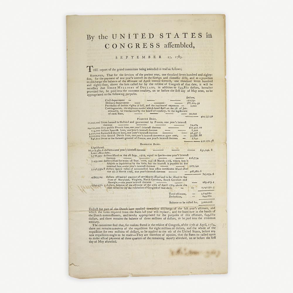 [Hamilton, Alexander] [American Revolution] Printed Document