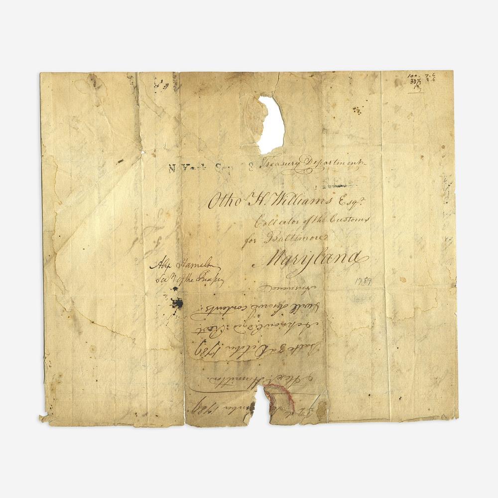 [Hamilton, Alexander] [Lighthouses] Hamilton, Alexander Free-frank Address Leaf