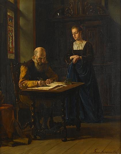 FRANS MOORMANS, (DUTCH 1832-1893), SIGNING THE LEDGER