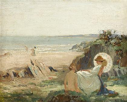 WILLIAM HANNA CLARKE, (SCOTTISH 1882-1924), BATHERS ON THE SHORE