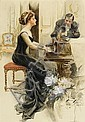 HARRISON FISHER, (AMERICAN 1875-1934), A LADY AND HER SUITOR, Harrison Fisher, Click for value