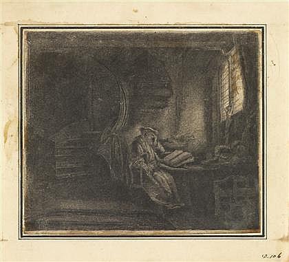 REMBRANDT VAN RIJN, (DUTCH 1606–1669), SAINT JEROME IN A DARK CHAMBER