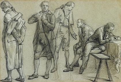 FRENCH SCHOOL, (CIRCA 1800), STUDY OF FIVE STATESMEN