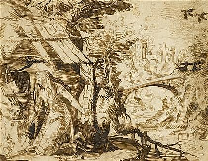 JACQUES DE GHEYN II, (DUTCH 1565-1629), MARY MAGDALENE IN THE WILDERNESS