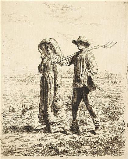 JEAN FRANÇOIS MILLET, (FRENCH 1814-1875), LE DEPART POUR LE TRAVAIL