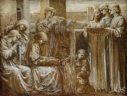 FOLLOWER OF DANTE GABRIEL ROSSETTI, (BRITISH 1828-1882), SAINT CECILIA