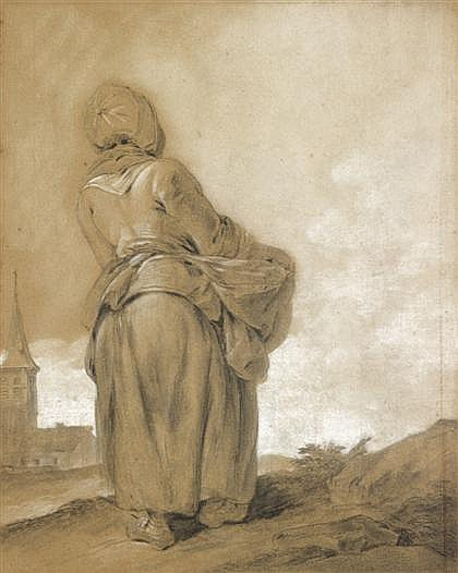 DUTCH SCHOOL, (CIRCA 1800), PEASANT WOMAN WITH BUNDLE VIEWED FROM BEHIND, CHURCH IN DISTANCE