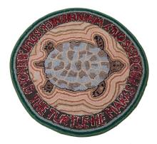 Contemporary hooked rug of a turtle, 20th century
