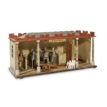 Wooden model of stables with four horses and group of dogs, 20th century