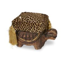Faux leopard-upholstered turtle-form ottoman, probably Witco, 1960s