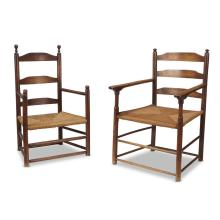Two similar ladderback rushsheat armchairs, Late 18th/early 19th century