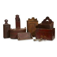 Group of assorted wood containers, Most American, 19th century