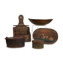 Group of assorted boxes and wood decorations, 19th/20th century