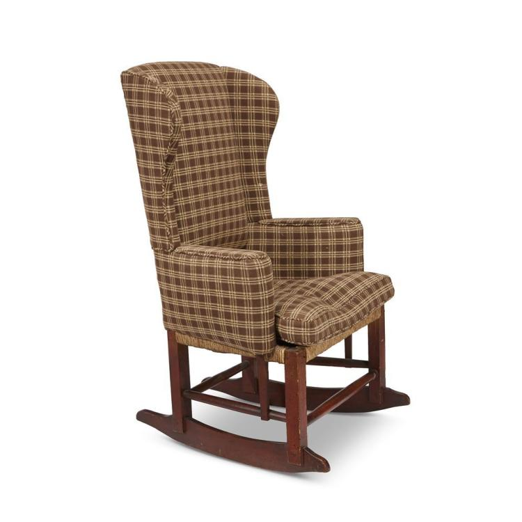 Country birch and maple upholstered wingback rocking chair