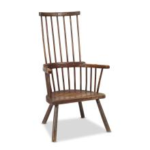 Primitive oak windsor comb-back armchair, Welsh, 19th century