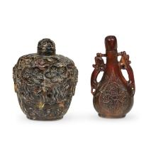 Three Chinese carved snuff bottles,