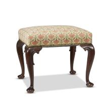 A Queen Anne style mahogany upholstered stool, 20th century