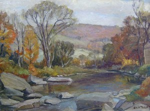 GRIF TELLER (American 1899-1993)  AUTUMN LANDSCAPE WITH STREAM