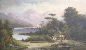 HENRY BOESE (American 1824-1863)  MOUNTAIN LANDSCAPE WITH COTTAGE