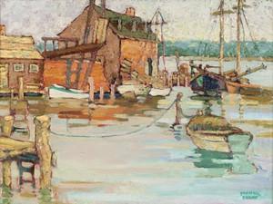YARNALL ABBOTT (American 1870-1938)  FISHING BOATS IN A HARBOR