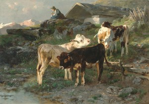 ANTON BRAITH (German 1836-1905)  CALVES BY A STREAM IN SUNLIGHT   signed, inscribed and dated Anton Braith Munchen 1882 lower right,