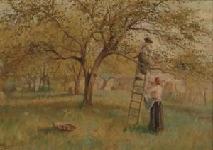 HAL ROBINSON (American 1875-1933)  APPLE PICKING