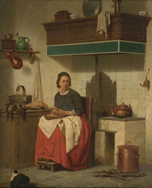 CHARLES JOSEPH GRIPS (Belgian 1825-1920)  WOMAN IN INTERIOR PREPARING A MEAL
