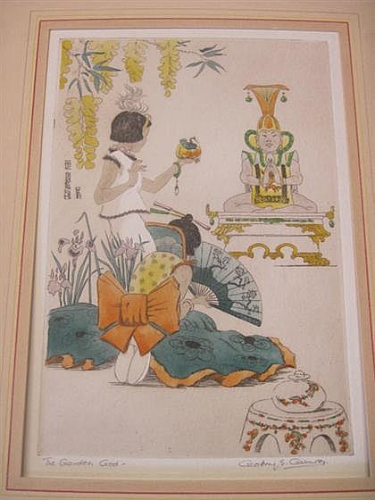 Geoffrey Sneyd Garnier ( English, 1889 - 1971), the golden god, Aquatint etching, signed in pencil, lower right.
