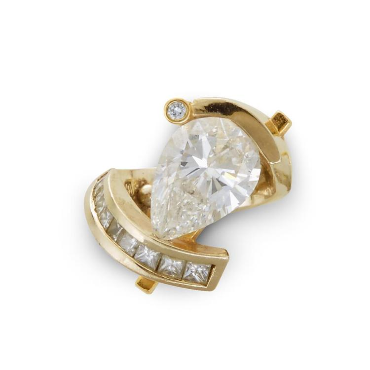 An enhanced diamond, diamond and fourteen karat gold ring,