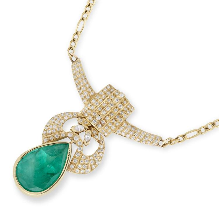 An emerald, diamond and fourteen karat gold pendant necklace, italy