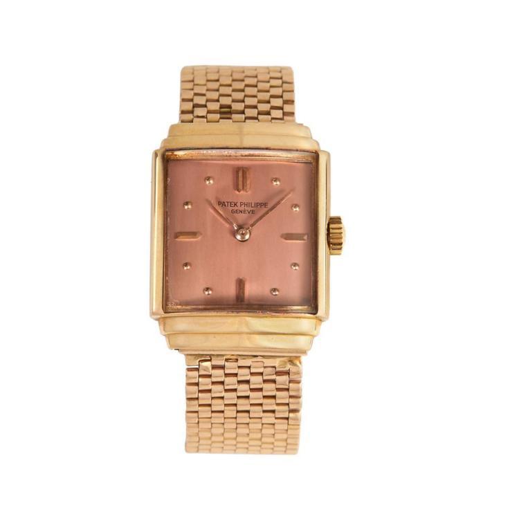 An eighteen karat rose gold watch, Patek Philippe,