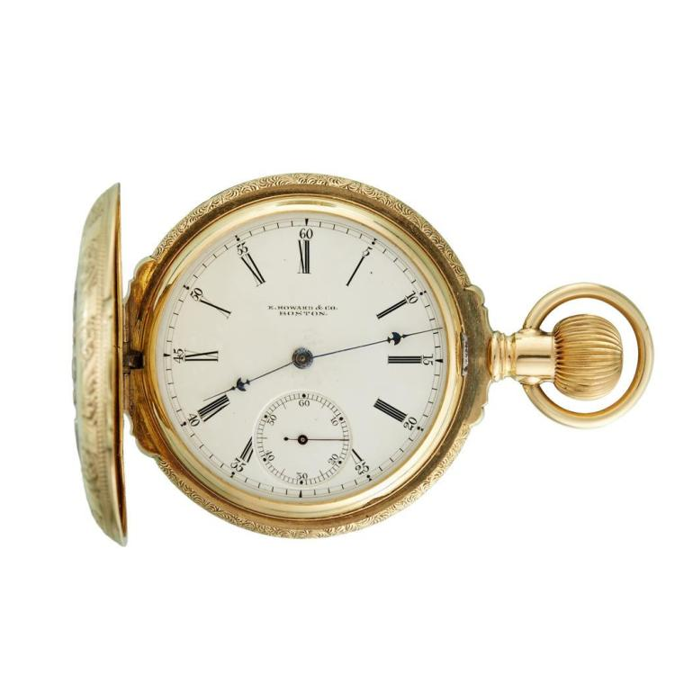 A fourteen karat tri-color gold, hunting and box cased pocket watch, Howard,