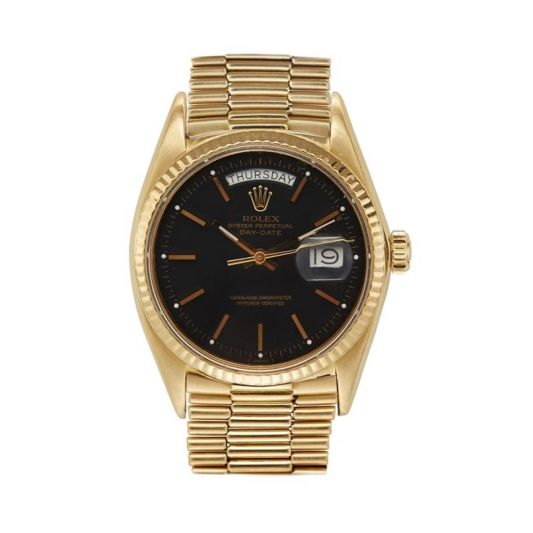 An eighteen karat gold bracelet wristwatch, Rolex, day-date