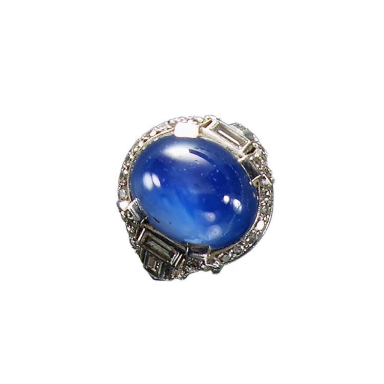 An Art Deco star sapphire ring, circa 1925