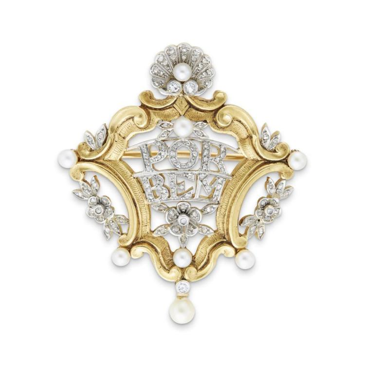 An antique diamond, pearl, eighteen karat gold and platinum brooch, circa 1890