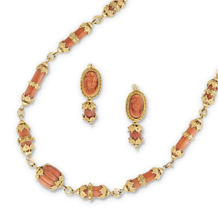 An antique coral and fourteen karat gold necklace, circa 1890