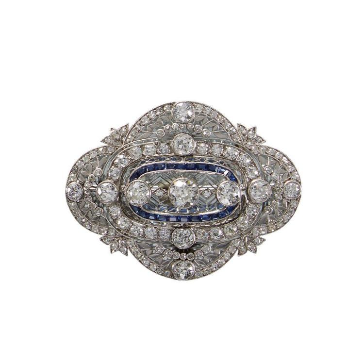 A Belle Époque diamond, sapphire and platinum brooch, circa 1910