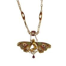 An eighteen karat gold enamel and diamond pendant necklace,