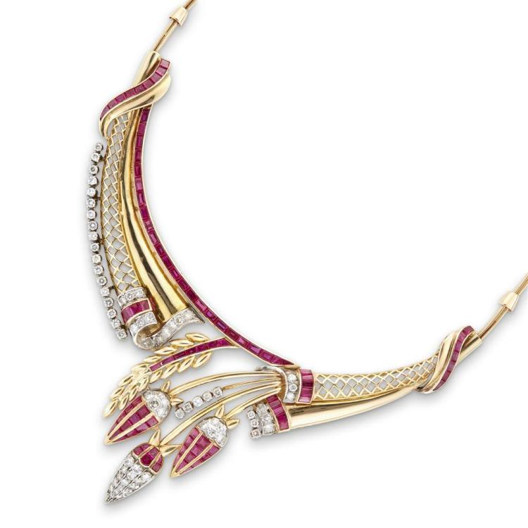 A retro simulant ruby and eighteen karat gold necklace, circa 1940