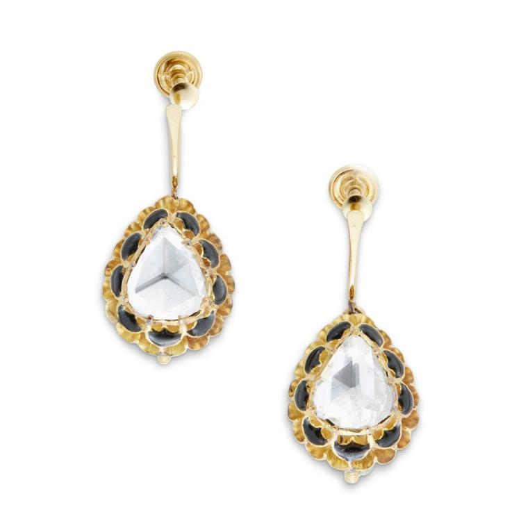 A pair of diamond, enamel and fourteen karat gold earrings,