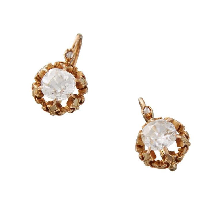 A pair of diamond and eighteen karat gold drop earrings,