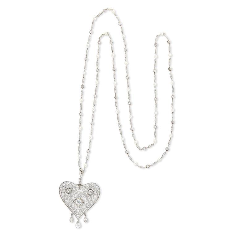 A diamond, cultured pearl and platinum pendant with chain,