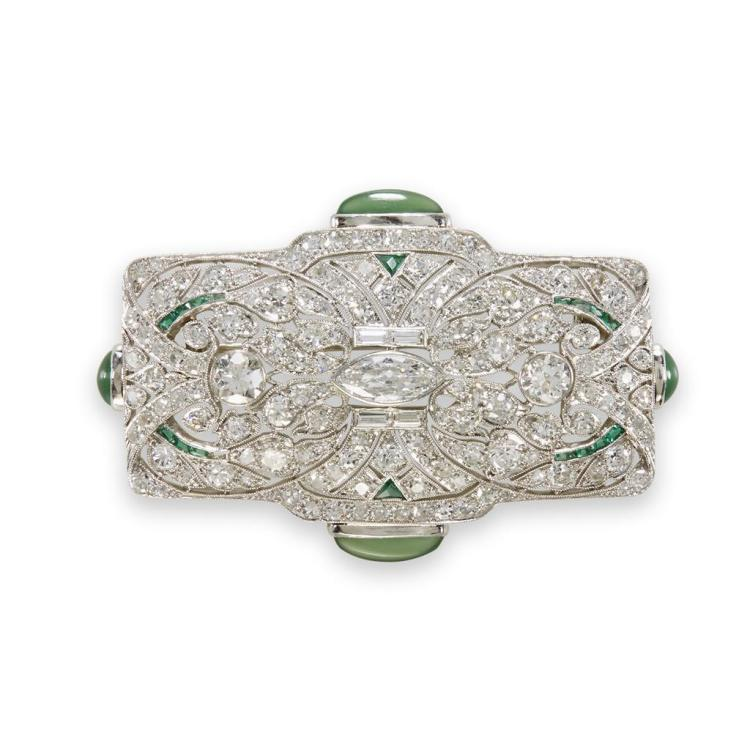 An Art Deco diamond, platinum, chrysoprase brooch, circa 1920