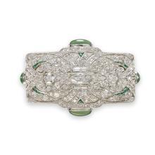 An Art Deco diamond, platinum, chrysoprase brooch, circa 1920