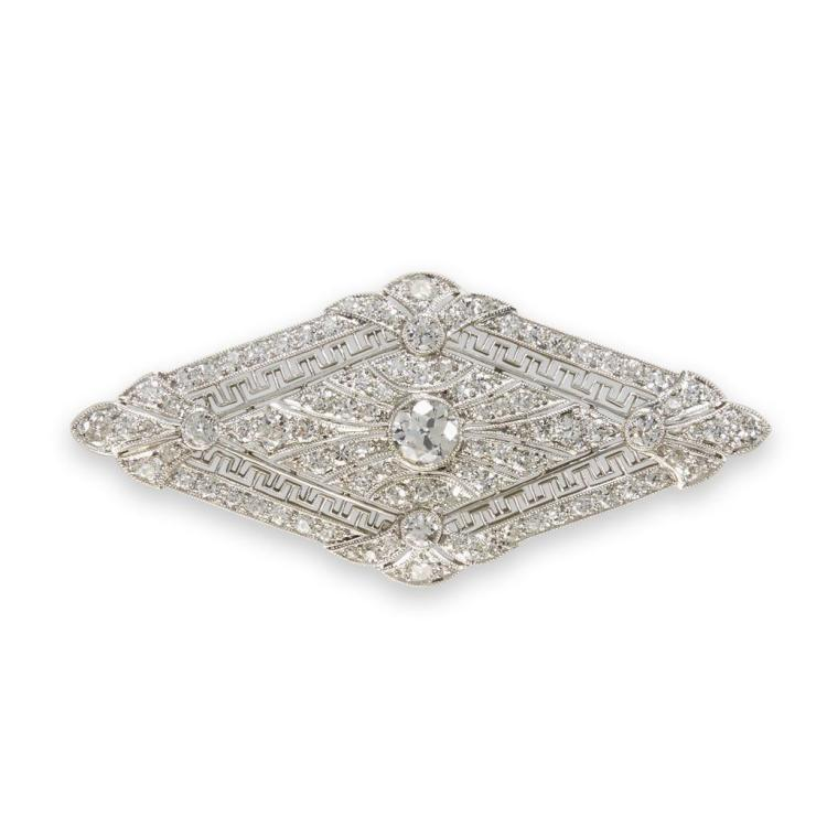 An Art Deco diamond and platinum brooch, circa 1920
