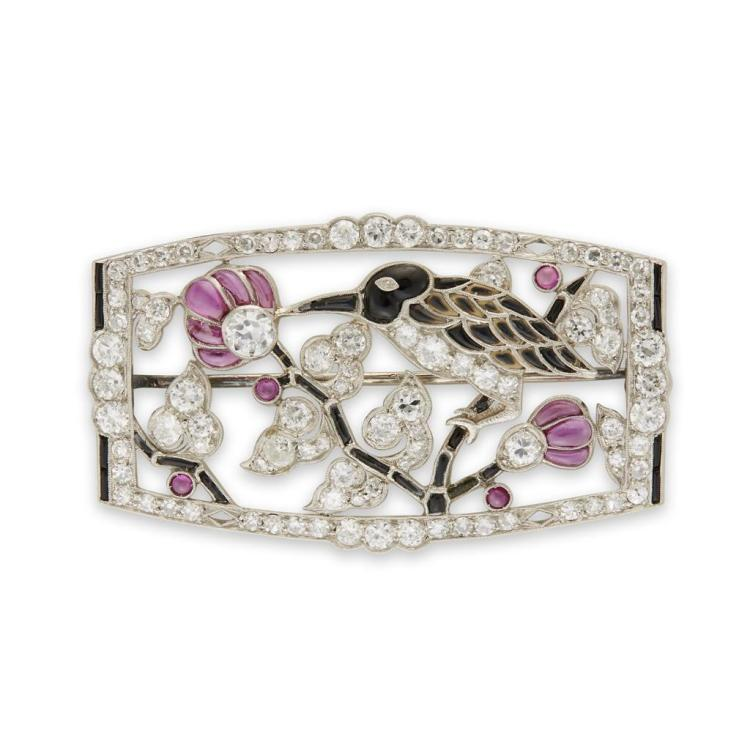 An Art Deco diamond, ruby, enamel and platinum brooch, circa 1910